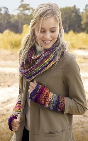 ronde sjaal + polswarmers Lana Grossa Olympia Flyer
